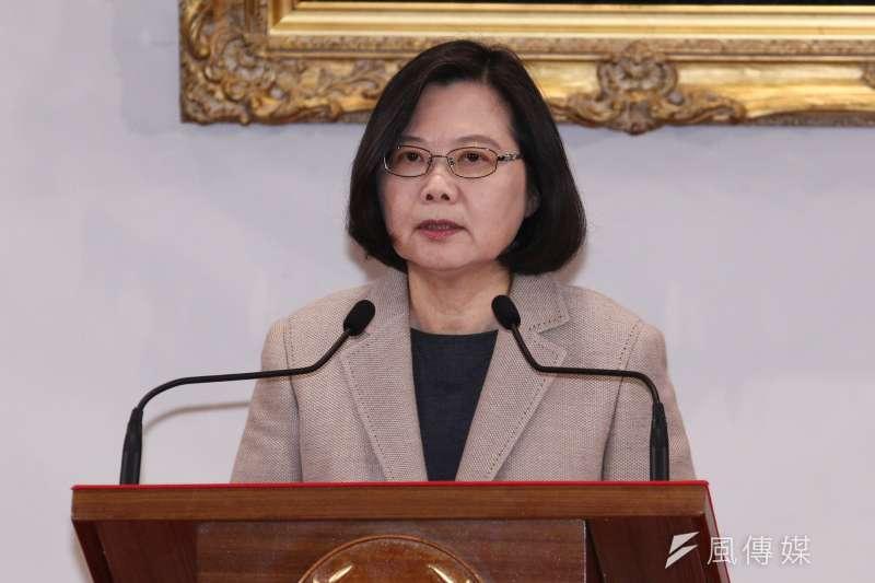 20190101-總統蔡英文於總統府進行2019新年談話。(蔡親傑攝)