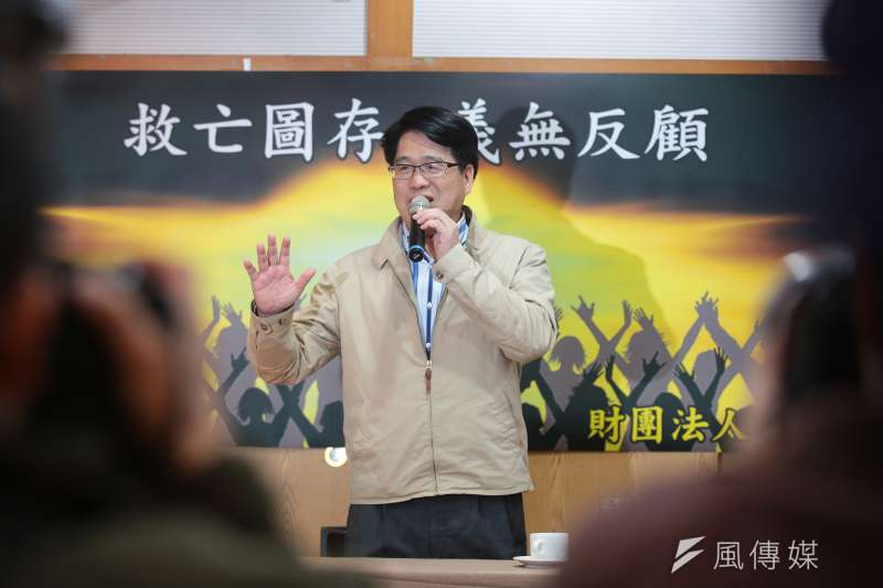 20190103-民進黨主席候選人游盈隆3日下午與媒體茶敘。(顏麟宇攝)
