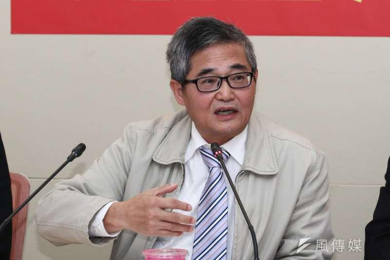 20190104-三民主義統一中國大同盟秘書長林忠山出席「啟動兩岸和統進程」記者會。(蔡親傑攝)