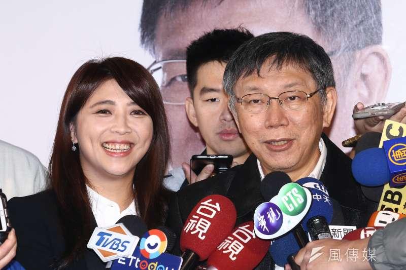 台北市第二選區立委補選周日即將登場,「柯家軍」陳思宇(左)除經常與台北市長柯文哲(右)合體造勢,也在日前推出與柯合拍的拉票影片。(資料照,蔡親傑攝)