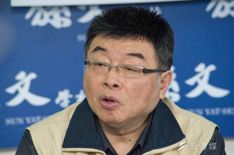 20190107-張亞中參選總統記者會,前立法委員邱毅。(甘岱民攝)