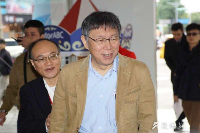 針對台北市政府本屆廉政透明委員會至今只有4人報名,台北市長柯文哲9日受訪表示,可能是廣告小小的,人家也不知道要來報名。(盧逸峰攝)