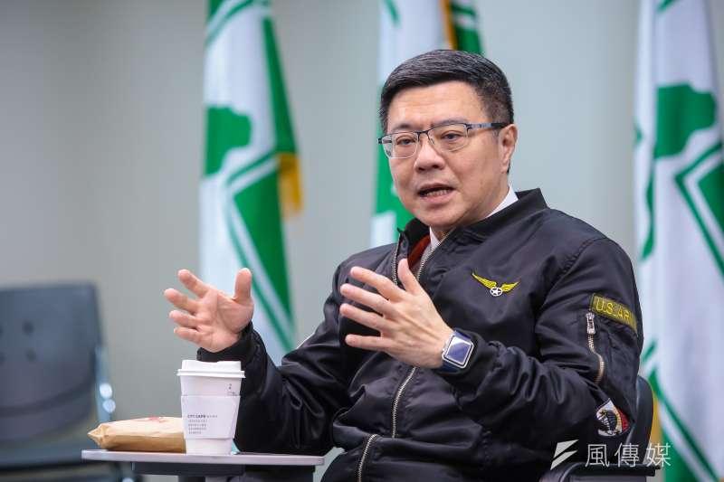 20190111-民進黨主席卓榮泰11日與記者茶敘。(顏麟宇攝)