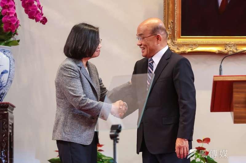 總統蔡英文11日宣布蘇貞昌(右)接任行政院長,蔡其昌(顏麟宇攝)