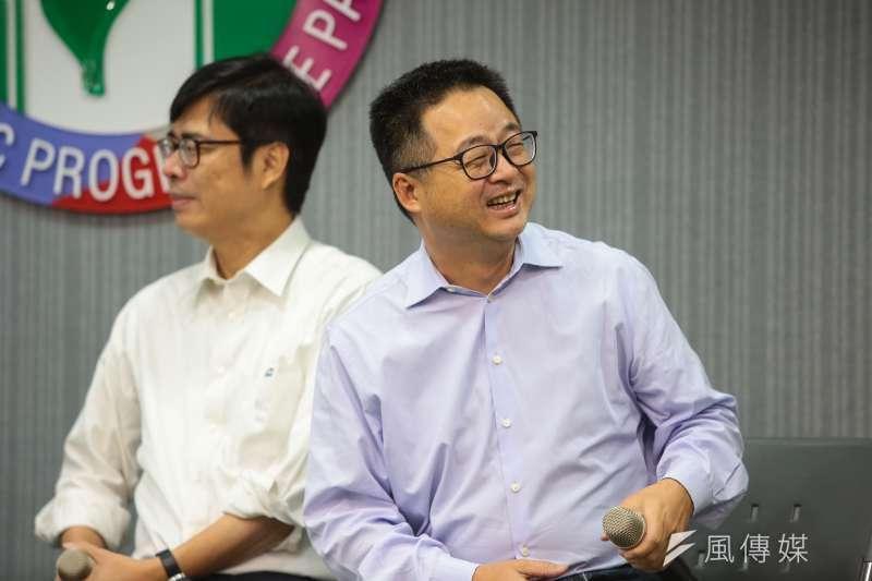 20190116-民進黨秘書長羅文嘉16日於中常會後與媒體座談。(顏麟宇攝)