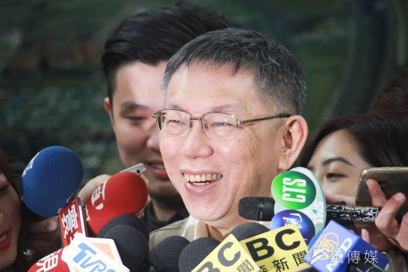 台北市長柯文哲18日下午接受媒體訪問。(方炳超攝)