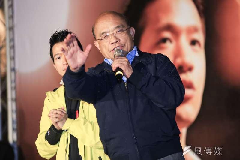 行政院長蘇貞昌(前)今晚和綠委餐敘,討論老車汰換補助、漁工工時、同性婚姻立法等議題。(資料照,簡必丞攝)