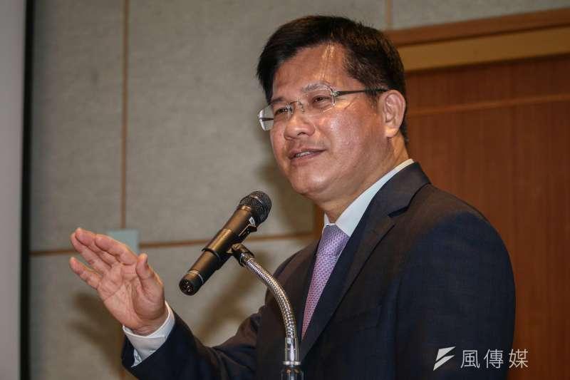 20190121-交通部林佳龍部長出席「108年新春記者會」。(蔡親傑攝)