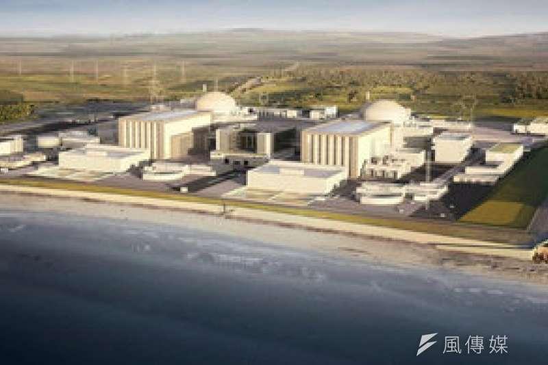 中資承包的英國欣克利角核電廠,為求通過審查,傳出將改用當地大廠勞斯萊斯設備,圖為欣克利角核電廠全景合成圖(圖片來源:Gov.UK)