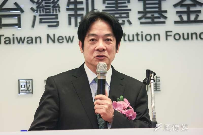 前行政院長賴清德23日出席台獨大老辜寬敏「台灣制憲基金會」成立記者會,針對制憲議題,表示「現在時機已到」。(簡必丞攝)