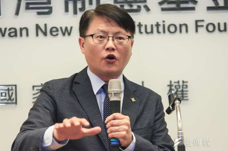 20190123-基進黨黨主席陳奕齊23日出席台灣制憲基金會開幕式。(簡必丞攝)