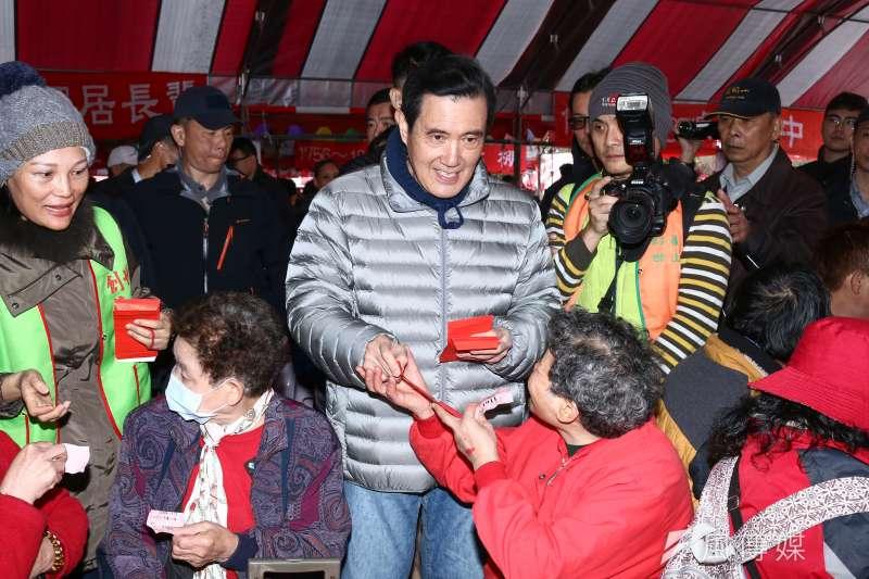 20190127-前總統馬英九出席「第29屆寒士吃飽30尾牙」。(蔡親傑攝)