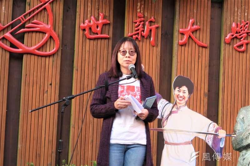 20190127-世新社發所為社會學家成露茜舉辦追思會。圖為社發所教授夏曉鵑。(朱冠諭攝)