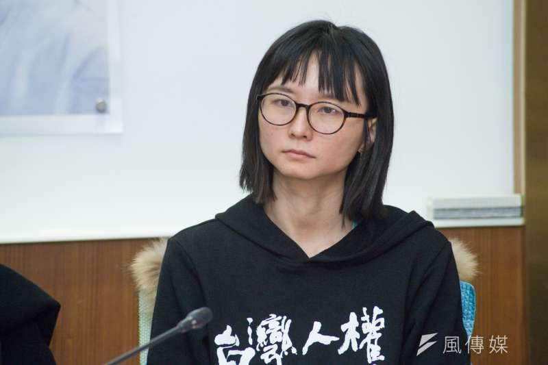 20190129-回應赤山監獄拒絕探監公告記者會,台灣人權促進會秘書長邱伊翎。(甘岱民攝)
