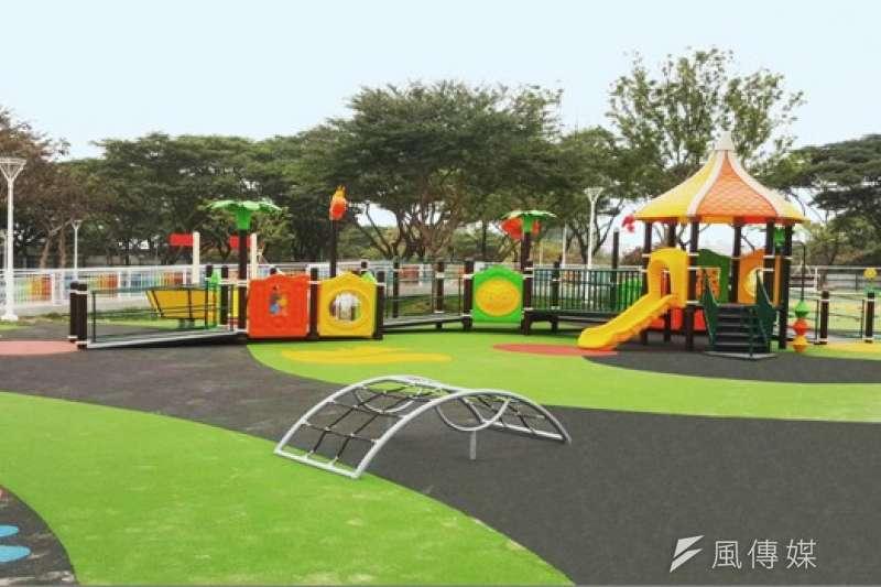 衛武營藝文中心及捷運橘線的衛武營都會公園,完成增設2.5公頃遊戲區。(圖/徐炳文攝)