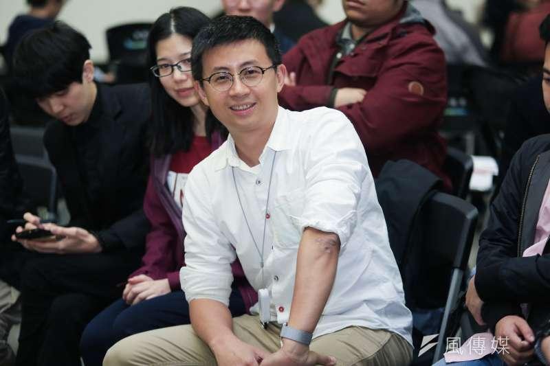 2019年1月31日,台北市議員邱威傑出席思辨之夜。(簡必丞攝)