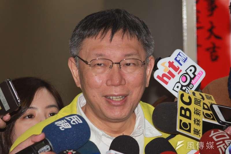 20190201-台北市長柯文哲1日上午在市府短暫接受媒體聯訪。(方炳超攝)