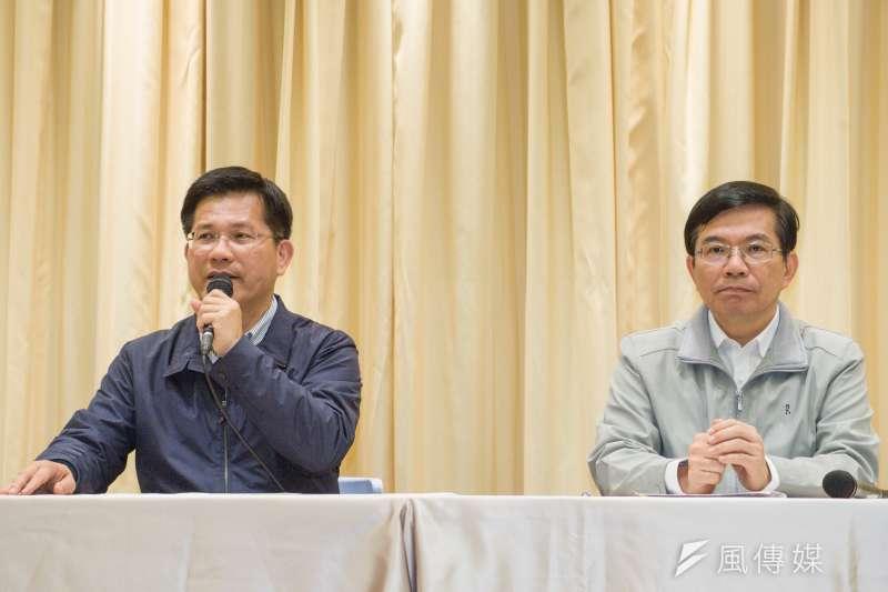 華航勞資協商再破裂,交通部長林佳龍等人舉行記者會。(資料照,甘岱民攝)