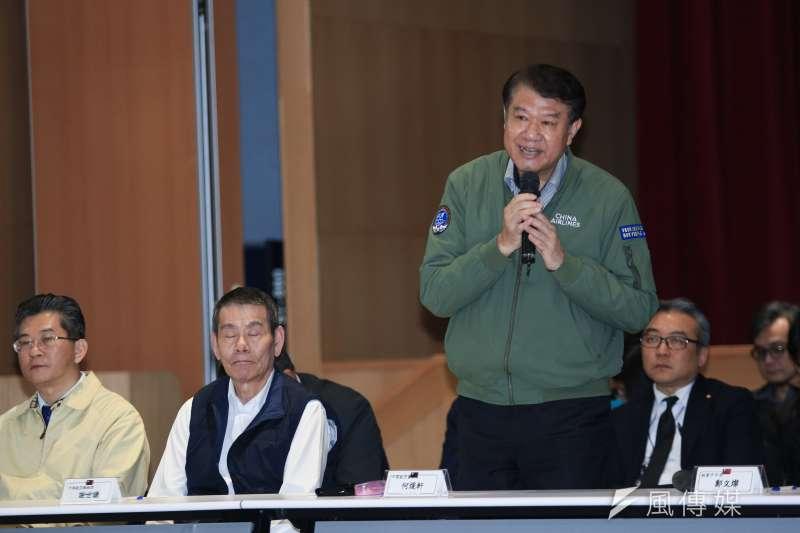 20190214-中華航空董事長何煖宣14日出席華航勞資協商會後記者會。(簡必丞攝)