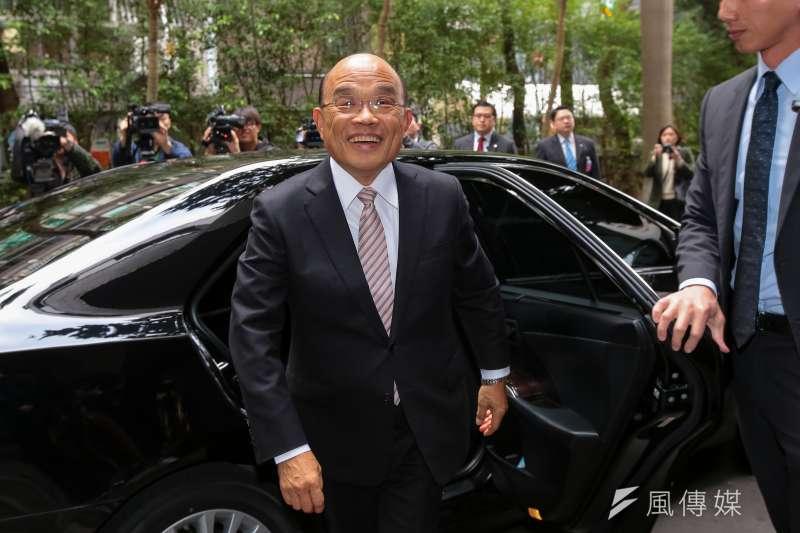 行政院長蘇貞昌自爆年假期間都開私家車進行政院辦公,連警衛都不知道。(顏麟宇攝)