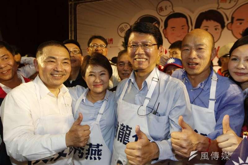 今(17)日下午韓國瑜,侯友宜,盧秀燕三人一起到台南市幫謝龍介助選。(新新聞郭晉瑋攝)