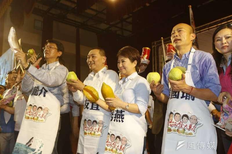 韓國瑜,侯友宜,盧秀燕力挺補選立委的謝龍介,在台南深綠區,有機會拚下一席。(新新聞郭晉瑋攝)
