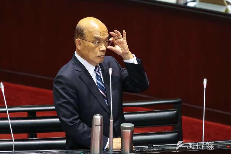立委質詢,怎麼看國民黨主席吳敦義這麼急提與中國簽兩岸和平協議?行政院長蘇貞昌(見圖)回應說「選舉啦」。(顏麟宇攝)