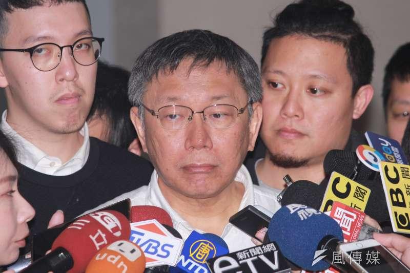 20190219-日前曾批評民進黨新潮流是國家禍害,台北市長柯文哲19日受訪時表示團隊裡面還是有好人壞人。(方炳超攝)