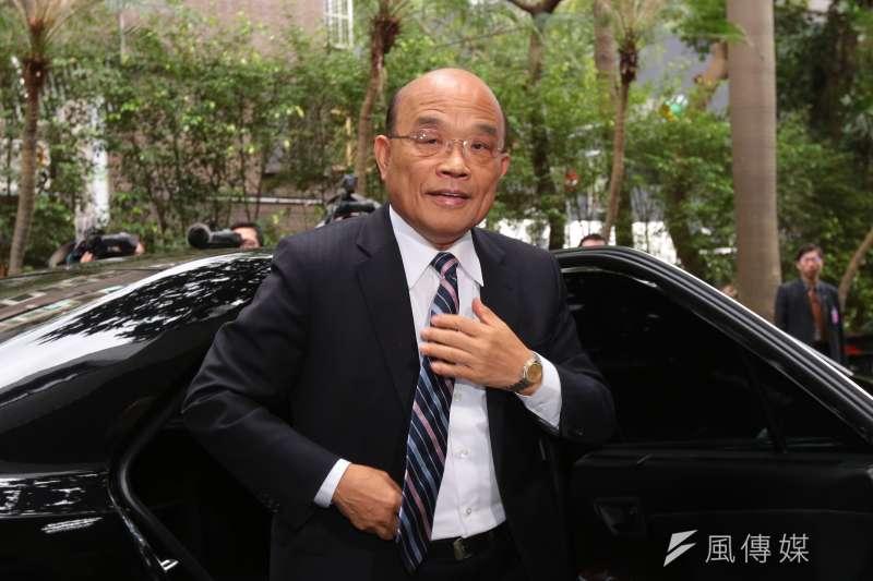 針對高雄市長韓國瑜爆料高雄前瞻計畫被要求重寫,行政院長蘇貞昌19日受訪時回應,那是半夜酒館開直播,滿嘴胡說。(顏麟宇攝)