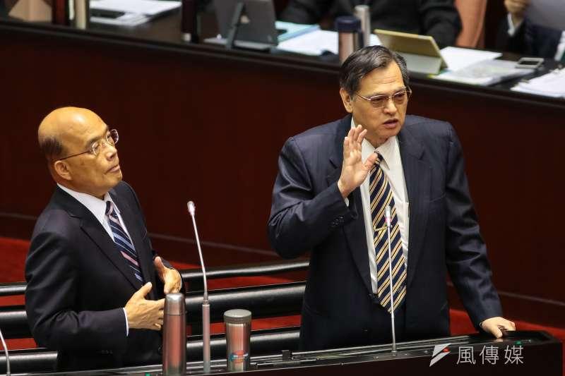 20190219-行政院長蘇貞昌(左)、陸委會主委陳明通(右)19日於立院備詢。(顏麟宇攝)