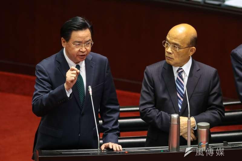 20190219-行政院長蘇貞昌(右)、外交部長吳釗燮(左)19日於立院備詢。(顏麟宇攝)
