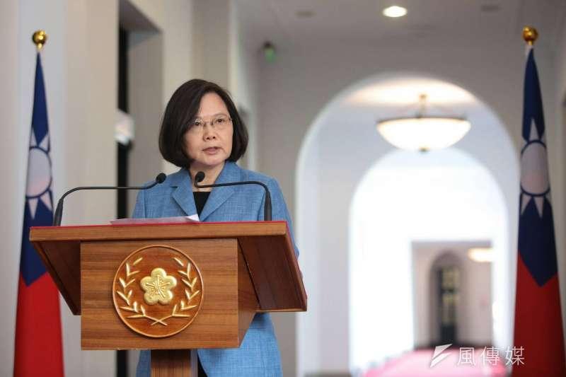 20190220-總統蔡英文20日上午於總統府舉行「迴廊談話」。(顏麟宇攝)
