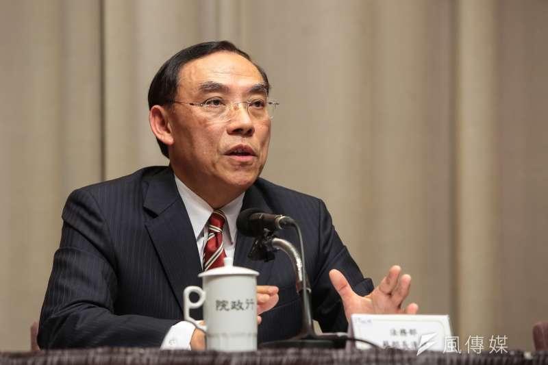 法務部長蔡清祥21日出席行政院會後記者會。(顏麟宇攝)
