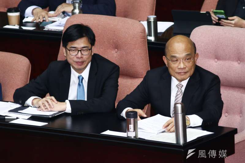 20190222-行政院長蘇貞昌(右)、副院長陳其邁(左)22日出席立院備詢。(蔡親傑攝)