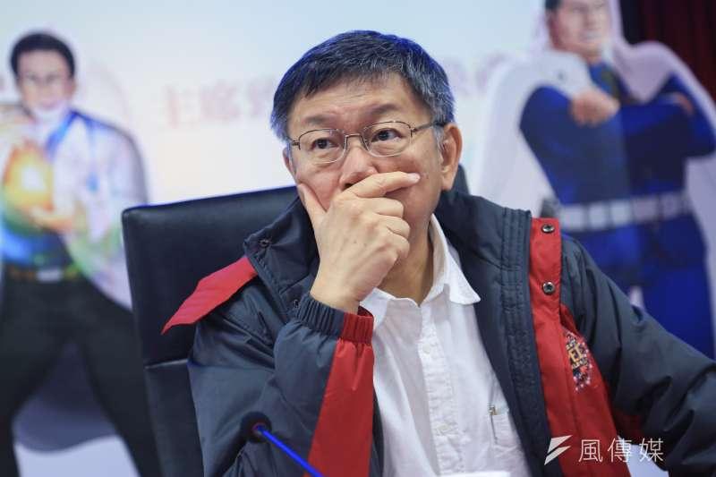 台北市長柯文哲23日與新北市府進行雙北論壇,談及民進黨新潮流派系議題。(簡必丞攝)