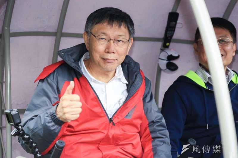 台北市長柯文哲(左)是否參選2020總統大選,朝野皆關注(簡必丞攝)