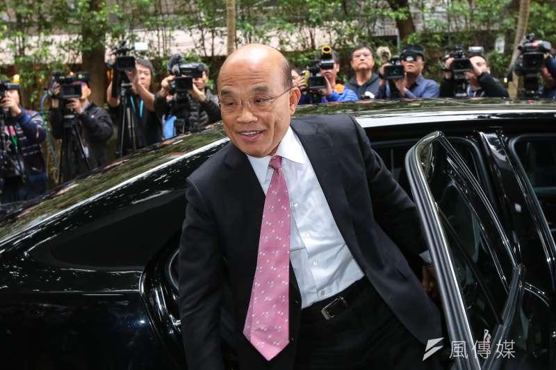 行政院長蘇貞昌26日至立法院備詢,批評國民黨主席吳敦義提出的兩岸和平協議。(顏麟宇攝)