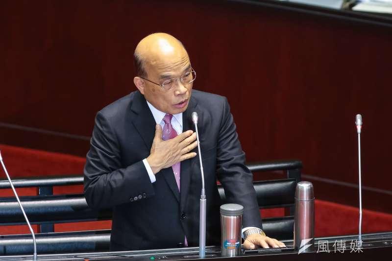 針對「司法院釋字第748號解釋施行法草案」,行政院長蘇貞昌5日於立院備詢時呼籲,表示期盼立法院如期通過這一部法案。(資料照,顏麟宇攝)
