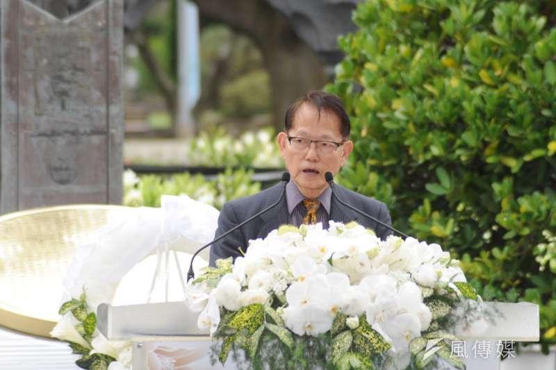二二八事件72周年中樞紀念儀式,受難者家屬代表王克雄致詞時強調,「絕不能跟中國簽和平協議。」(甘岱民攝)