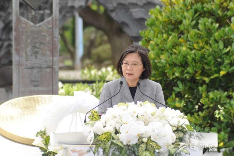 總統蔡英文28日出席二二八事件72周年中樞紀念儀式,並在致詞中強調轉型正義的重要性。(甘岱民攝)