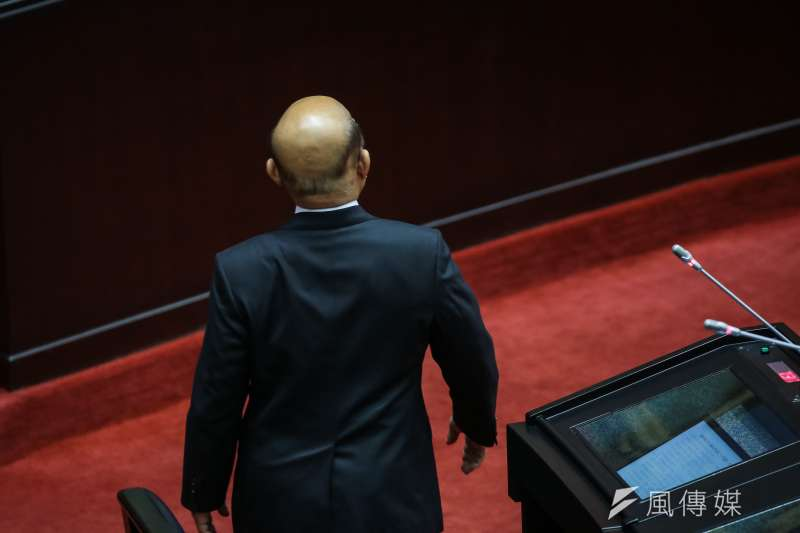 20190305-行政院長蘇貞昌5日於立院質備,與國民黨立委黃昭順發生爭執回座休息。(顏麟宇攝)