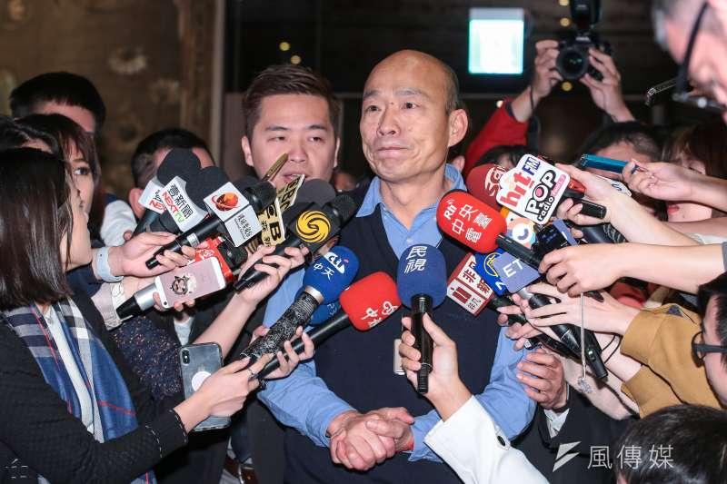 高雄市長韓國瑜7日出席記者會,宣告「春天吶喊」音樂祭將吸引上萬樂迷到高雄消費,要打造春吶是個乾淨、健康、快樂,且絕對沒有毒品的音樂活動。(資料照,顏麟宇攝)