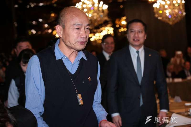 高雄市長韓國瑜6日出席工商協進會理監事聯席會議,因一句「怎麼瑪麗亞變成我們的老師了?」引來爭議。(顏麟宇攝)