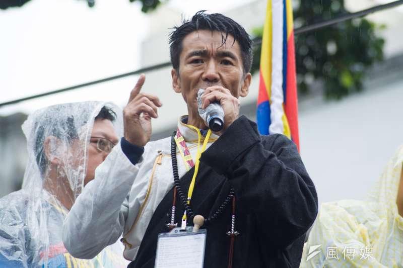 20190310-310西藏抗暴日60周年大遊行,台灣西藏人權連線理事長札西慈仁。(甘岱民攝)