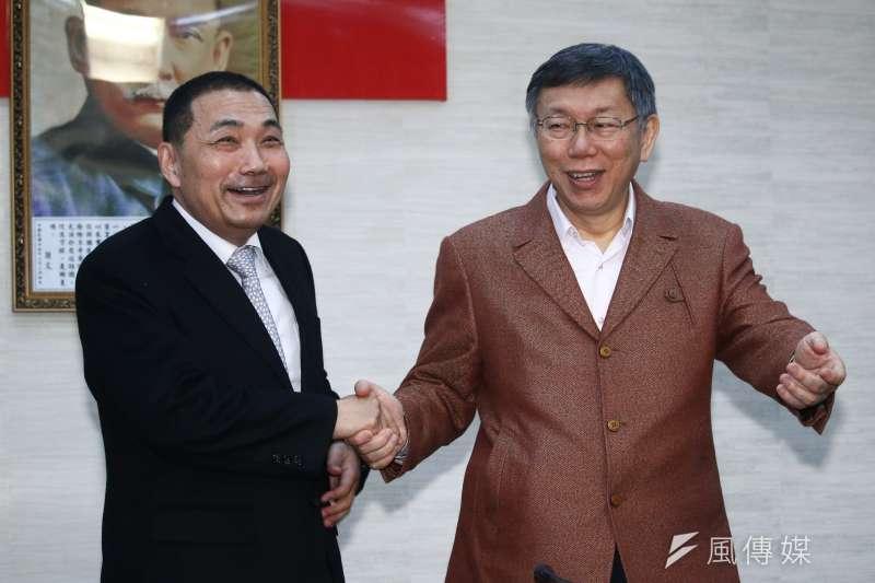 20190311-新北市長侯友宜(左)11日拜訪台北市長柯文哲(右)。(蔡親傑攝)