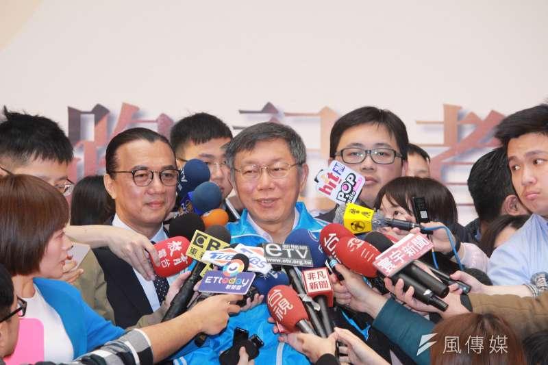 20190312-台北市長柯文哲上午出席2019台北國際烘焙暨設備展展前記者會,談及兩岸議題。(方炳超攝)