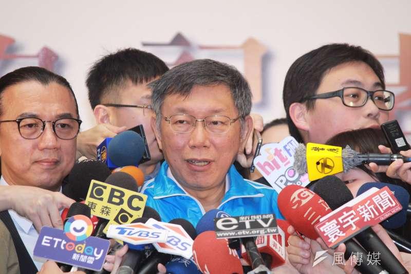 總統蔡英文在立委補選前發表對兩岸7項綱領,被外界解讀時機敏感,台北市長柯文哲12日回應,像他做事該怎麼做就怎麼做。(方炳超攝)