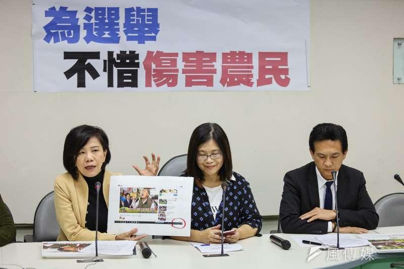 民進黨立委葉宜津(左至右)、管碧玲、李俊憲13日召開「柚子假新聞不下架,為選舉不惜傷害農民」記者會。(顏麟宇攝)