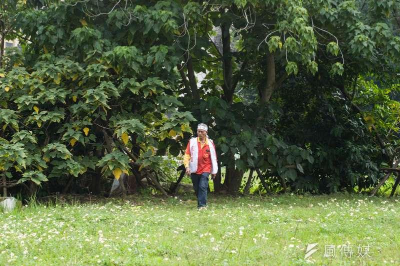 20190314-大觀苦行,一名大觀居民走在被夷為平地的華光社區上。(甘岱民攝)