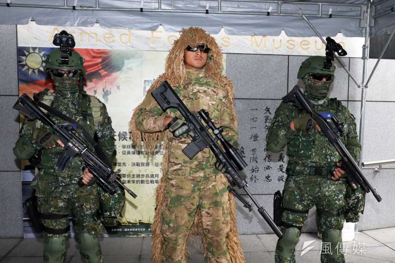 20190315-陸軍步兵特展今天登場,場外有特戰6人小組進行展示,中間狙擊手裝備的是R.E.P.R.20 輕型狙擊槍。(蘇仲泓攝)